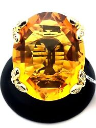 14k Yellow Gold Big Oval Accent Citrine Cocktail Ring With Diamonds Size 6.5