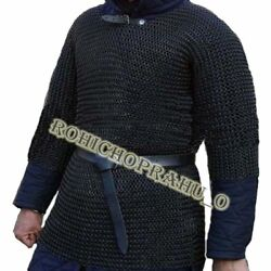 Butted Chainmail Shirt Large Full Sleeve Armor Chainmail Haubergeon Halloween 9w