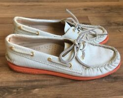 Sperrys Top Slide Size 6 Boat Shoes J Crew Colab Flats Blue Pink Gold Cushion