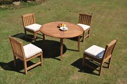 Dsdv A-grade Teak 5pc Dining Set 52 Round Table 4 Armless Chair Outdoor Patio