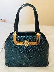 NWOT Authentic Valentino Orlandi Designer Green Quilted Leather Bowling Bag  $479.00