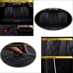 Black Luxury PU Leather Front+Rear Car Seat Cover Universal Interior Accessories
