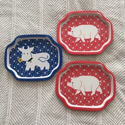 Lot Of 3 Country Calico Collectible Snack Tea Trays Vintage Tins Pigs And Cow