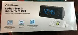 Electrohome Alarm Clock Radio with USB Charging for Smartphones amp; Tablets