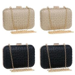 Hollow Out Leather Evening and Day Diamond Shoulder Clutch Bag for Wedding Party
