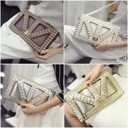 Women Leather Messenger Day and Evening Skull Spiked Punk Crossbody Clutch Bags