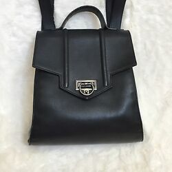 Reece Hudson Black Leather Purse Backpack Bag Mini Siren Bag  ITALY