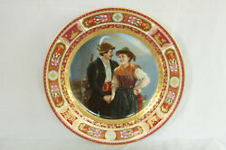 Unusual Royal Vienna Austrian Couple Man With Gun Cabinet Plate All Hand Painted