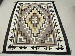 Navajo Two Gray Hills Rug With Fine Weave C.1950s-60s 58 X 39