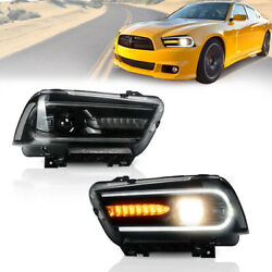 2PCS For 11-14 Dodge Charger Halo Style LED Headlights Car Light Lamps Projector