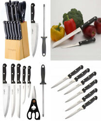 LivingKit Stainless Steel Kitchen Knife Block Set 14 Piece For Home Cooking...
