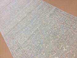 4andrsquo X 13andrsquo Muted Light Blue Fine Soft Oushak Oriental Rug Wide Runner Hand Knotted