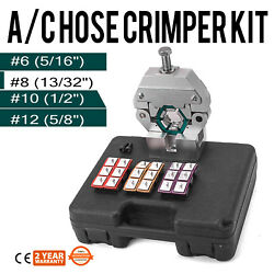 71550 Manually Operated AC Hose Crimper Tool Kit W 4 Dies Fittings 17LBS Pro