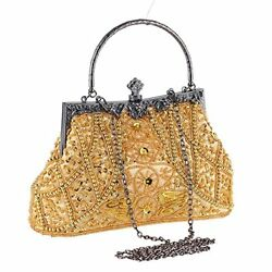 Vintage Beaded and Sequined Women Evening Bag Evening Purse Clutch Bag Grey-Blue