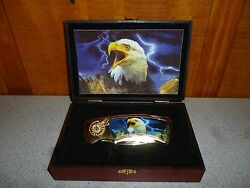 NOS Collector Eagle Pocket Knife in wooden display box