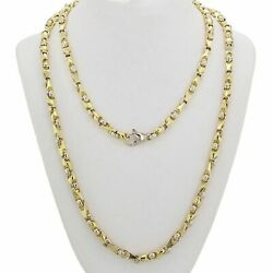 14k Yellow And White Gold Handmade Fashion Link Necklace 24 5mm 50 Grams