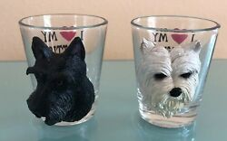 Scotty and Westie terrier dogs shot glasses