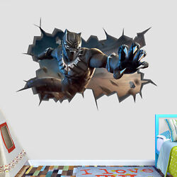 Black Panther Avengers Wall Hole 3d Decal Vinyl Sticker Decor Room Smashed Bp04