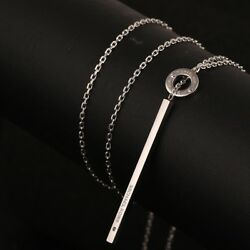 Signatured Drop Silver Plate Necklace New With Mk Dust Bag