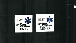 2 Nice Emt No Reflective Crawling Miner For Hard Hat Coal Mining Stickers 99