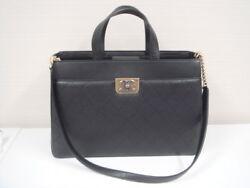 Chanel Straight Lines Zipped Shopping Shoulder Hand Tote Bag A93581 Black Used
