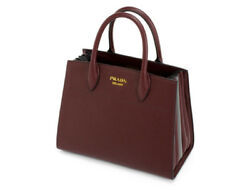 PRADA 1BA050 Biblioth?que Hand Tote Bag Used Ex++ Mint Winered Gray
