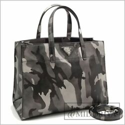 PRADA B2603P SAFFIANO Camouflage Soft Leather Shoulder Hand Tote Bag Never Used