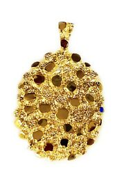 14k Solid Yellow Gold Nugget Design Fashion Charm Pendant 47 Grams