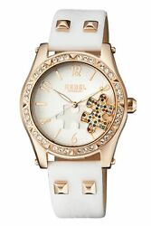 Rebel Women's Rb111-8021 Gravesend Crystals Puzzel-piece Dial Leather Watch