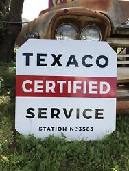 Antique Vintage Old Style Texaco Certified Sign