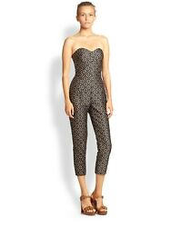Michael Kors brown black eyelet strapless sexy jumpsuit