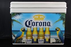 Corona Extra Light Beach Scene With Parrots 17 X 13 Inch Cooler With Lid