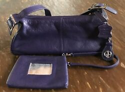 Giani Bernini Soft Purple Leather Shoulder Bag Purse NWT Wristlet And Key Chain.