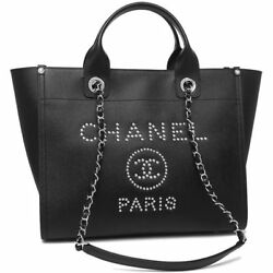 CHANEL A57069 Shopping Chain Shoulder Hand Tote Bag Deauville 2018 Used Japan