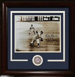 Don Larsen Signed 8x10 Photo Ins 10-8-56 Perfect Game Framed Coin Auto Coa