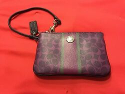 COACH signature C logo Wristlet Purple And Gray Stripe With Coach Key Chain Wow