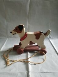 Hand Made Wood Dog Pull Along Toy, Heritage Toys, Sebee Maine, Moving Tail