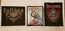 PATCHES - BANDS-CALIBAN CANNIBAL CORPSE  GODSMACK-WOVEN SEW ON - SET OF THREE  $14.02