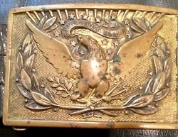 Us Army Officer's Brass Buckle And Belt, Indian Wars Through Spanish-american War.