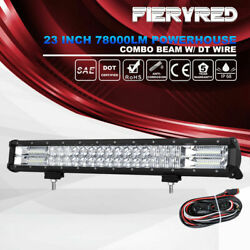 23 inch LED Light Bar Spot Flood Beam 5D Offroad Driving Lamps w DT Wiring Kit