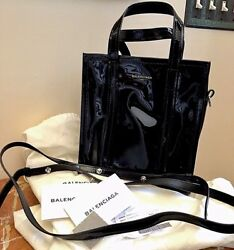 Balenciaga Bazar Black Patent Leather Tote Bag W/ Removable Strap Bnwt Sold Out