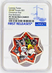 2018 Looney Tunes Christmas Tree Star Shaped 1oz Silver Proof 1 Coin Ngc Pf70