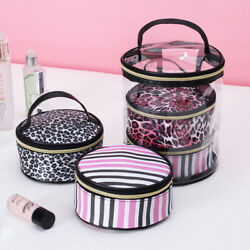 Clear Cosmetic Toiletry Bags Women Leopard Vanity Make up Cases Travel Organizer