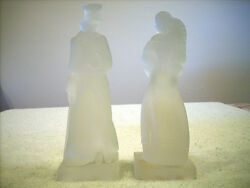 Japanese Frosted Crystal Glass Figurines A Set Of 2 1800s Dress