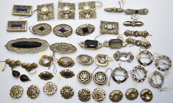 Vintage Retro 50's Brass Filigree Victorian Style 43pc Lot Pins Brooches