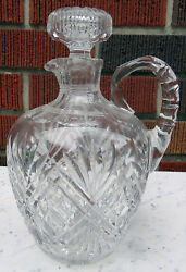 Hawkes Cut Crystal Whiskey Bourbon Jug Decanter W/ Handle Stopper Signed And No.10