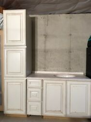 Whitewashed 18 Inch Thomasville Linen Closet And 48 Inch Bathroom Vanity With...