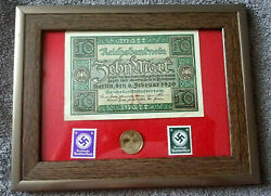 German Ww2 Rare 10 Rp Coin Wth Stamps And V Rare 10 Mark Bill