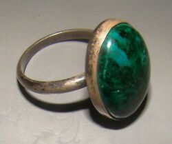 Vintage Israel Silver 925 Ring Jewelry Green Stone