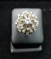 Estate Jewelry 14 Karat White Gold Round Diamond Cluster Cocktail Ring 1940and039s